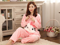 bear pajama - In autumn and winter long sleeve flannel Home Furnishing thickened pajamas clothing cute cartoon relax bear home service