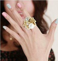 Bohemian Women's Gift Retro Pearl Flower Rings For Women With Rhinestone Cheap Jewelry Gold Gun Black Color 36PCS LOT