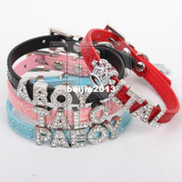 Wholesale Lefdy New small cat Personalized Collar with Rhinestone Customized Free Name Diamond of XXS
