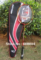 Wholesale 1 piece badminton racket Lining N90II red with badminton string carbon fibre