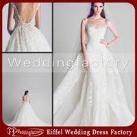 Wholesale Gorgeous New Arrival Luxury Cathedral Backless Wedding Dresses Sheath Mermaid Lace Tulle Scoop Neck Bridal Gowns with A Line Attached Train