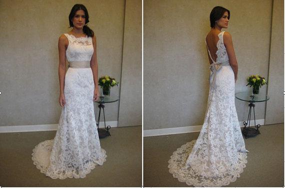 Vintage Sheer Lace Backless Wedding Dresses 2015 Bateau Neckline ...