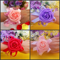 Wholesale New Wedding Banquet Colorful Bridal bridesmaid flower wrist corsage wrist flower high quality foam headdress flower