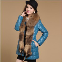 Wholesale 2013 Women s Genuine Sheepskin Leather Down Coat with Raccoon Fur Collar Female Winter Slim Garment