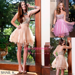 Wholesale 2014 Cheap Homecoming Dresses Sexy Sweetheart Sequins Crystals Ruffle Tulle Back Corset Mini Short A Line Cocktail Prom Gowns BO4350