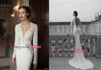 Cheap 2014 Berta Bridal Long Sleeve Wedding Dresses Lace Deep V Neck Poet Sheer Chapel Train Backless Beach Mermaid Bridal Gowns BO3926