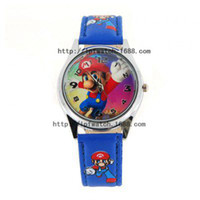 Wholesale New Super Mario Fashionable Children Wrist Watch Children Leather Quartz Watch