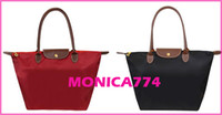 Wholesale Drop Shipping Retail CM colors Faux leather Bags Handle Tote Shopping Bag Nylon WaterProof beach bags Handbag foldable mummy bags