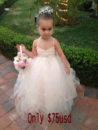 Wholesale Real photo Kids Girl s Pageant Dresses Back bow beads Flower Girl Dresses