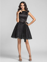 Bow Knot black and white bridesmaid dress - 2015 New Short Black Beach Bridesmaid Dresses A line Bateau Neck Satin and Lace Bridesmaid Dress