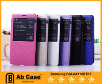 Wholesale S View Flip Cover leather cell phone cases For Samsung Galaxy Note With Senor Chip Dormancy Function Automatic Wake up