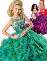 Wholesale 2014 New Hot Red Purple Green Girl s Pageant Dresses Crew Beaded Rhinestone Ruffles Ball Gown Floor Length Organza Flower Girl Gowns
