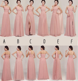 Wholesale 2014 Bridesmaid Dress For Maid of Honor Mix style Real Photos Chiffon Long Skin Color party gowns Prom Dresses