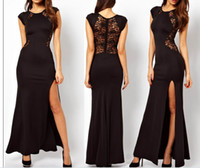 Wholesale Fashion Women Sexy Long Dress Side Split Back Lace See through Slim Bodycon Fishtail Evening Party Maxi Dresses Street Style