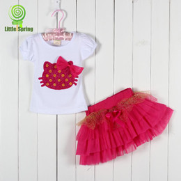 Wholesale 2014 New Baby Girl Suits T shirt Skirt Summer KT Cat Sets Top T shirt And Tutu Outfits Kids Suits Children Clothing Suits LZ T0101