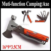 Wholesale High quality Multi functional Folding Axe Hammer Camping Axe Hiking Saw Rescue knife Military Swiss Hunting Knife Tool