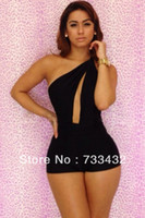 Cheap Novetly Sexy Free Shipping Fashion 2014 Sexy Black Jumpsuit Women Bandage Celebrity Dress Mini Backless Bodycon Vestidos