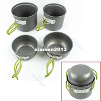 Wholesale set Outdoor Camping Hiking Cookware Backpacking Cooking Picnic Bowl Pot Pan Set