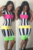 Cheap Free Shipping New Fashion Women Elegant Bandage Dress Celebrity Black White Strip Party Stretch Bodycon Pencil Sexy Dress S M L