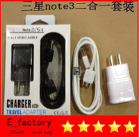 Wholesale 2in1 in US EU wall home travel charger Micro USB data line sync cable adapter cables with retail box for Samsung Galaxy note note3
