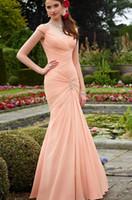 2014 pearl pink Bridesmaid Dresses V neck chiffon mermaid lo...