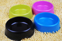 achat en gros de plats bleu jaune-Cheap Plastic Pet Dog Cat Food Bowl 3 Size Dog Dish Rose Bleu Noir Jaune Color Mix Commande Candy Color 10PCS / LOT