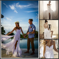 Wholesale Beach Sexy Wedding Dresses Sexy Backless White Spaghetti See Through Sweep Train High Low Lace Chiffon Bridal Gown Dress