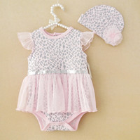romper dress - 2014 spring summer new Baby Kids Clothing Childrens girls lace dance lace leopard tutu Baby One Piece Romper dress hat sets HH