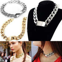 Wholesale Mixed Silver Black Gold Twisted Chunky Chain Fashion Lady s Polish Statement Choker Collar Necklace High Quality