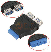 Wholesale New Ports USB Female to Internal HUB Motherboard Pin Male Adapter Connecter Retail PC