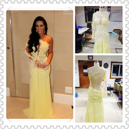 Wholesale New Arrival Hot selling Light Yellow One shoulder Long Sleeve Lace Chiffon Evening Dresses Sexy Backless Prom Party Gown