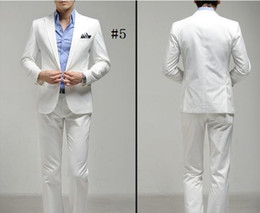 Wholesale Men s White One Button Bridegroom Dress Fashion Leisure Suit Cultivate One s Morality Men s Suit Pieces Coat And Pants