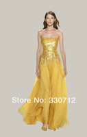 Cheap Elie Saab Gold Off The Shoulde Sequines With Crystal Chiffion Floor Length Evening Dresses Prom Dresses For Sale