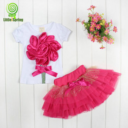 Wholesale Girl s Suits D Flower Tshirt Skirt design Sizes Y Short Sleeve Outfits Sets Outwear Baby Clothing
