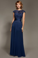 Wholesale 2014 Dark blue Scoop Neckline Lace Chiffon Cap Sleeves Mother Of The Bride Dresses Floor Length Mommy Dresses