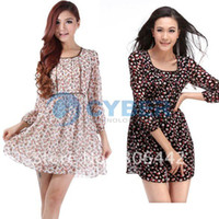 Cheap Spring Fall Clothing 2014 Women Fashion Casual Bohemian Print Long Sleeve Chiffon Dress Korean Style 8081