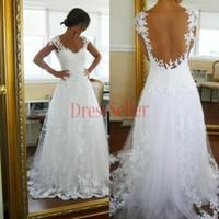 Wholesale White Full Lace wedding dresses Portrait Open Back A line Long Appliques Wedding Bridal Gowns