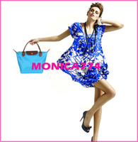 Wholesale Free Ship CM color Plus size Faux leather Bags Handle Tote Shopping Bag Nylon WaterProof beach bags Handbag foldable bags
