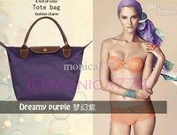 Wholesale EMS Free Ship Quality CM color Faux leather Bags Handle Tote Shopping Bag Nylon WaterProof beach bags Handbag foldable bags