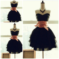 Wholesale Little black sexy cocktail dresses One shoulder ball gown tulle sash Lovely party gowns Bridesmaid dresses Prom dress