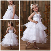 Reference Images Girl Applique Best selling Hot sale Spaghtti Straps Ball gown Tea length Organza Beads Appliques Pink Lovely Flower girls dresses Pageant dress Little bab