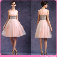 Wholesale 2015 Youthful Short Party Dresses Light Pink A line Tulle Juniors Prom Gowns Beaded See Through Waist Summer Homecoming Cocktail Dress Beach