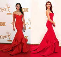 award dresses - Nina Dobrev Red Dress sweetheart Emmy Awards Formal Evening Dress Celebrity Dresses With Strapless Ruffles Backless Mermaid Prom Dress