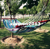 Cheap Wholesale - Outdoor hammock belt wooden sticks multicolour oxford fabric hammock indoor outdoor hammock swing lashing freeshipping
