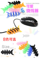 Wholesale 50XSilicone Rubber Fish Bone Earbud Organizer Cable Winder Earphone and Cable Organizer Earphone Cord Organizer For MP3 MP4