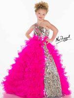 Cheap Cheap 2014 Lovely One-shoulder Princess Ball Gowns Sequins Ruffle Organza Little Girls Kids Pageant Dresses For Girl