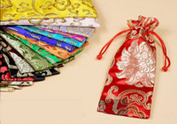 6*18cm chinese bags - jewelry bag gift bag jewelry pouches mixed color Chinese silk bag size cm sold per bag of