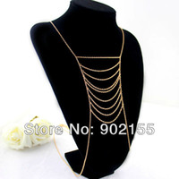 Wholesale New Fashion Design Jewelry Multilayer Gold And Silver Color Body Chains Alloy Statement Necklace for Christmas Gifts Women