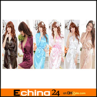 Wholesale Sexy Lingerie Satin Sleepwear Silk Detail Robe and G String Sexy Sleepwear Nightdress