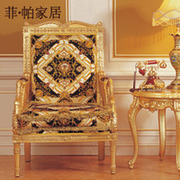 Wholesale french louis style furniture baroque golden leaf gilding dining room chair